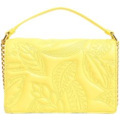 Quilted Tropical Bag ($230) ❤ liked on Polyvore featuring bags, handbags, shoulder bags, giallo, womenbagsshoulder bags, genuine leather handbags, yellow leather handbag, yellow handbags, quilted chain strap shoulder bag and genuine leather shoulder bag