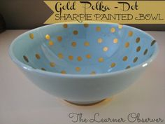 The Learner Observer--how to do perfect polka dots on a glass bowl.