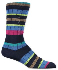 Fun navy, blue, green, red and tan striped socks by J.M. Dickens for men.