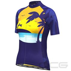 Women's Tropical Paradise Palm Tree Sunset Cycling Jersey exclusive at – Online Cycling Gear – Free Shipping – Lowest Prices! Women's Cycling Jersey, Cycling Jerseys, Cycling Quotes, Cycling Art, Palm Tree Sunset, Palm Trees, Female Cyclist, Bike Shirts, Bicycle Design