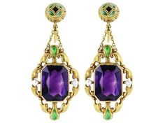 Aesthetic gold, amethyst, and enamel earrings; part of a suite