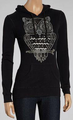 Black Graphic Owl Hoodie