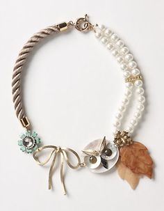 owl and pearls necklace Owl Bracelet, Owl Necklace, Bracelets, Beaded Bracelet, Owl Jewelry, Jewelry Box, Jewelry Accessories, Jewelry Making, Jewellery