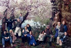 Veterans of the Public Theater's Shakespeare in the Park, from left: Mandy Patinkin, Jesse L. Martin, Blythe Danner, Lily Rabe, Jonathan Groff, Jerry Stiller, Anne Meara, Donna Murphy, Audra McDonald, James Earl Jones, Jesse Tyler Ferguson, Meryl Streep, Kevin Kline, and Oliver Platt, in Central Park, photographed by Annie Leibovitz