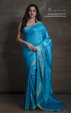 Pure Tussar Silk Saree in Blue and Brushed Gold Tussar Silk Saree, Mulberry Silk, Diva Fashion, Sari, Pure Products, Gold, Blue, Collection, Saree