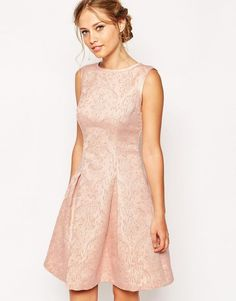 Ted Baker Skater Evening Dress in Jacquard Pink Size 5  UK 16/EU 44/US 12