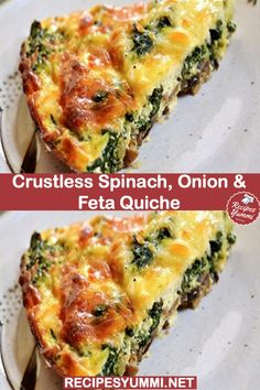 Crustless Spinach, Onion and Feta Quiche – Weight Watchers Recipes, weight watchers dinner recipes, Ww Recipes, Brunch Recipes, Vegetarian Recipes, Dinner Recipes, Cooking Recipes, Recipies, Vegetarian Quiche, Best Breakfast Recipes, Cooking Games