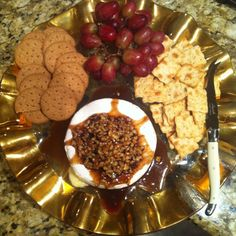 brie cheese with candied pecan topping