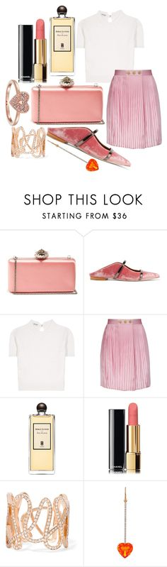 """""""jeux de peau"""" by annabellispeterson ❤ liked on Polyvore featuring Alexander McQueen, Malone Souliers, Miu Miu, Pierre Balmain, Serge Lutens, Chanel, Repossi, Irene Neuwirth and Swarovski"""