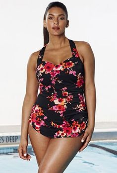 9652e486df9d1 Chlorine Resistant - Aquabelle Poppies Sarong Front Swimsuit Bad