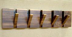 Originally designed and made by Hecho en Casa Taller. Wood Coat Hanger, Wooden Coat Hooks, Wall Mounted Coat Rack, Coat Racks, Wooden Accent Wall, Home Entrance Decor, Shoe Shelves, Wall Anchors, Art Mural