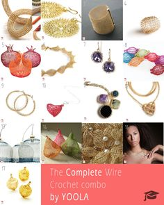 For those of you that want to have the COMPLETE wire crochet tutorials pack , this listing is for you ! a total of 17 PDF files and 14 video's . Subscribe to our newsletter to know when new ones are published , we have big plans for the coming year . the PDF files include close up photos explaining step by step how to successfully make the said design. the video's are taken from your point of view showing you Yoola's hands as if they were yours , this is done to make it even easier to follow the Making Jewelry For Beginners, Jewelry Making Tutorials, Crochet For Beginners, Wire Crochet, Crochet Hooks, I Love Jewelry, Wire Jewelry, Jewelry Ideas, Silver Jewelry