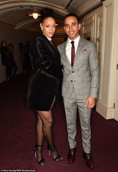 Hot new romance? Rihanna and Lewis, 30, pictured together at the British Fashion Awards in...