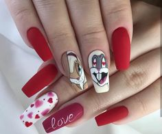 Gel Nails Designs Inspirations - Page 11 of 59 - Soflyme Valentine's Day Nail Designs, Cute Acrylic Nail Designs, Nails Design, Cartoon Nail Designs, Art Designs, Disney Acrylic Nails, Best Acrylic Nails, Nail Swag, Nail Art Tropical