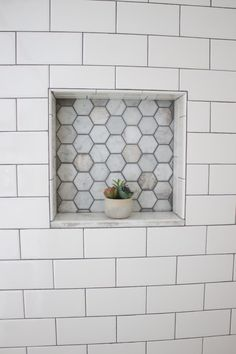 Built In Shower Nook With White Subway Tiles And Dark