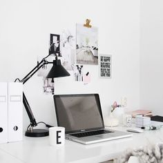 A simple black and white palette will keep your office looking timeless #interiordesign #monochrome #office #work