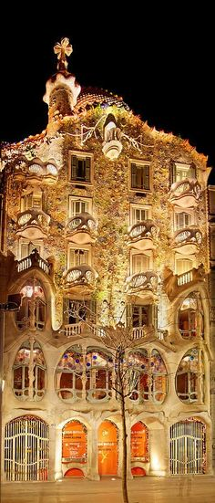 DAY 1. Casa Batllo at Night, Barcelona. Great to see at night, plan for less than an hour here. If you want to go inside, buy tickets online, they're open 9am-9pm. About $24 USD.