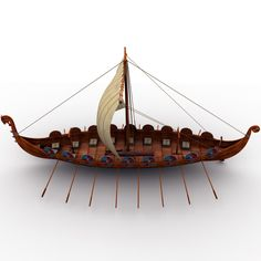 3d viking ship boats model
