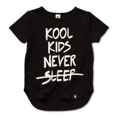 Kapow Kids Black Kool Kids Never Sleep Drop Back T-shirt