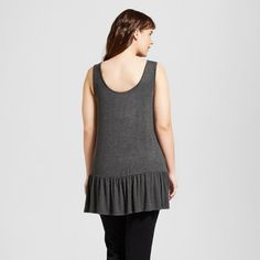 Women's Plus Size Good Times and Tan Lines Ruffle Graphic Tank Charcoal Gray 2X - Zoe+Liv (Juniors')
