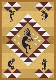 Cross Stitch Patterns - Ethnic/Cultural - Kokopelli Southwestern Counted Cross Stitch Pattern