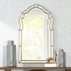 Labett Silver Leaf 23 x Arch Panel Mirror - Arch Mirror, Pink Mirror, Bathroom Design Inspiration, Modern Decor, Decorative Items, Powder Room, Leaves, Interior