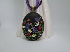 Polymer Clay Pendant/Necklace Applique Floral by FernandaMcCormack