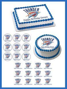 Oklahoma City Thunder Edible Birthday Cake Topper OR Cupcake Topper, Decor