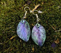 Green & Violet Leaf Earrings