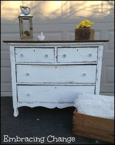 Chippy painted white dresser - #paintedfurniture #diy - www.countrychicpaint.com/blog