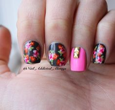 Floral nails with studs