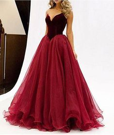 Discount Feminine Pretty Prom Dresses Pretty A-line Tulle Long Red Prom Dress, Evening Dress Prom Dresses 2016, V Neck Prom Dresses, Unique Prom Dresses, Lace Evening Dresses, Ball Dresses, Evening Gowns, Ball Gowns, Formal Dresses, Dress Prom