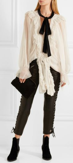 Velvet-trimmed ruffled silk-crepon blouse(CHLOÉ ) Cropped lace-up leather skinny pants(RONALD VAN DER KEMP),  Velvet ankle boots (CHLOÉ),Suede clutch (The Row )