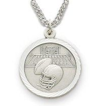 "Sterling Silver Boy's Football Medal, St Christopher on Back Sports Jewelry Boys Sports Patron Saint St Medal Catholic with St Christopher on Back w/Chain 20"" Length"