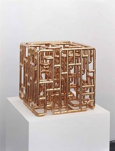 Beautiful cube sculpture from copper pipe fittings Add a flat top and voila, table Sculpture Metal, Abstract Sculpture, Tree Sculpture, Copper Pipe Fittings, Copper Pipes, Plumbing Pipe, Copper Art, Copper Color, Copper Tubing
