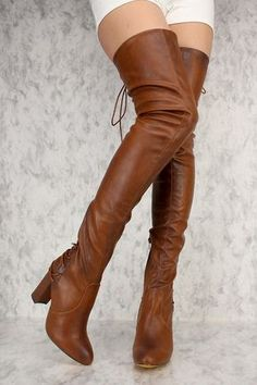 Cognac Back Lace Up Thigh High Round Pointy Toe Chunky Heel Boots Faux Leather High Heel Boots, Heeled Boots, Shoe Boots, High Heels, Women's Shoes, Shoes Sneakers, Stiletto Heels, Discount Designer Shoes, Designer Boots