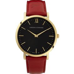 LARSSON & JENNINGS LJWLREDGB lader gold-plated stainless steel and... ($285) ❤ liked on Polyvore featuring jewelry, watches, accessories, red, leather watches, leather-strap watches, leather jewelry, red jewelry and crown jewelry