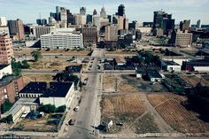 Bird's eye view: The empty lots add to the feeling that downtown Detroit is becoming a ghost town. Picture 1991