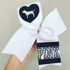 Love PINK Bling Dog White Cheer Bow Black Glitter Detail