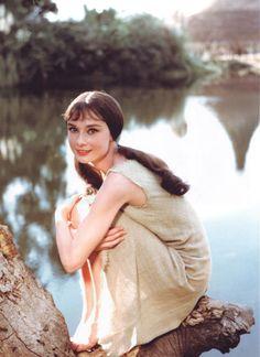 Pigtails, a look not seen very often on Audrey Hepburn!