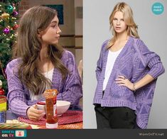Riley's purple cardigan on Girl Meets World.  Outfit Details: http://wornontv.net/54702/ #GirlMeetsWorld