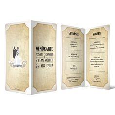 Menükarten zur Hochzeit - Vintage Brautpaar in Weiß #menükarte #hochzeit #getränke #essen #speisen #drinks #mahlzeit #food #wedding #vintage #brautpaar #weiß