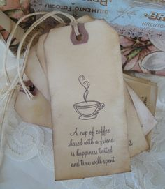 Coffee Dyed Gift Tags - Coffee Stained Tags - Coffee Lover Tags. $4.95, via Etsy.