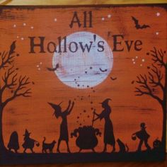 Primitive Halloween Signs Plaques Trick Or Treat Witches Props Samhain Decoration Black Cats cauldron Wiccan $75