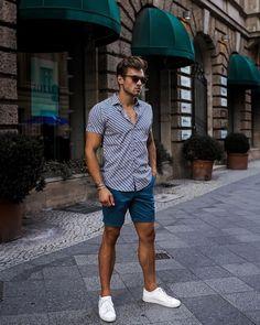Men's Spring/Summer 2019 Hipster Outfits Men, Stylish Mens Outfits, Casual Outfits, Men Casual, Streetwear Shorts, Streetwear Men, Mode Man, Formal Men Outfit, Look Short