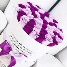 The Million Roses Flower Box Gift, Flower Frame, Flower Boxes, Lavender Roses, Purple Roses, Luxury Flowers, Love Flowers, Beautiful Flower Arrangements, Floral Arrangements