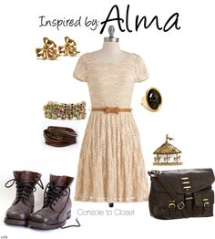 Alma (Fear) by ladysnip3r featuring leather jewelry This outfit is inspired by the terrifying Alma of Fear. I wanted to do something childish, with a hint of creepy, but still fashionable and appropriate for wearing out and about. I chose a dress with a childish silhouette and a tan color to give it a sort of used, grunge look. I also chose dark brown military boots, meant to be worn unlaced. To really make the outfit creepy, I chose a mix of childish and scary accessories. I chose bow…