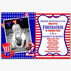 4th of july first birthday invitations red white blue kids
