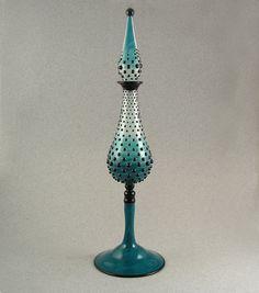 Wowzers. Gradated Hobnail - Lampwork blown boro perfume bottle by Beau Barrett.