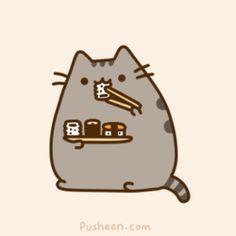 Community: 20 Adorable 'Pusheen The Cat' Gifs Chat Kawaii, Kawaii 365, Arte Do Kawaii, Sushi Drawing, Pusheen Stickers, Pusheen Love, Sushi Cat, F2 Savannah Cat, Cute Kawaii Drawings